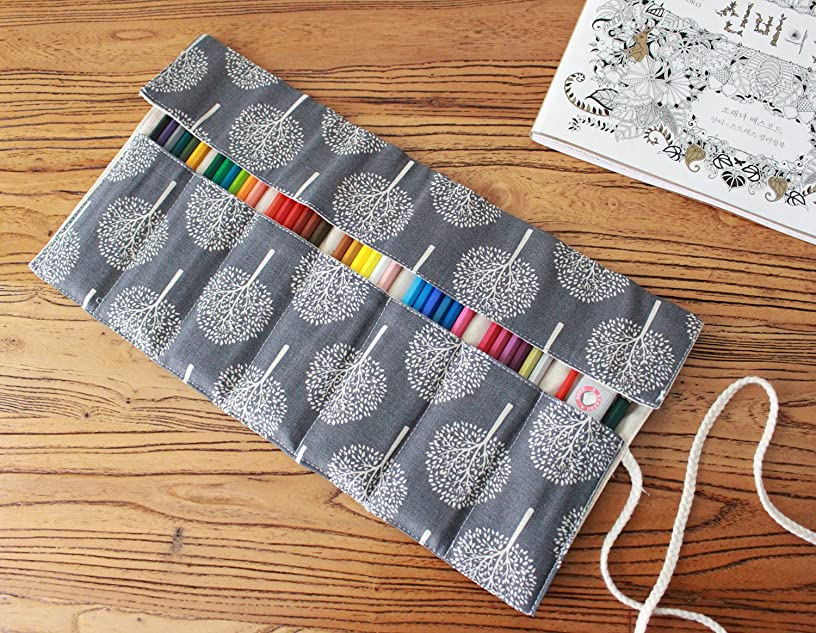 CreooGo Canvas Pencil Wrap, Pencils Roll Case Pouch Hold For 72 Colored Pencils ( Pencils are not included )-Tree,72 Holes