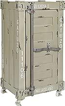 ts-ideen Cómoda Estilo Container Maritímo Verde/Gris Contenedor Shabby Vintage Cierramento Metálico