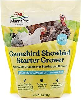 Manna Pro Gamebird Showbird Crumbles|Formulated with Vitamins & Minerals|5 Pounds