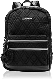 Cosmopolitan Women's Quilted Travel Backpack with Gunmetal Hardwear (Black)