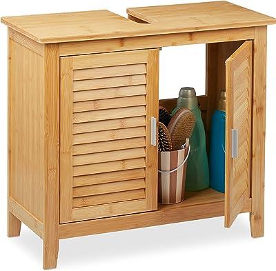 Relaxdays Armoire Dessous lavabo Bambou, 60x67x30 cm, 1 Grand Compartiment, 2 Portes, magnétique, Salle de Bain, Nature, 1 élément