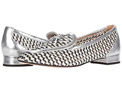 J.Crew Woven Leather Avenue Loafer w/ Bow (Ivory Navy Silver) Women