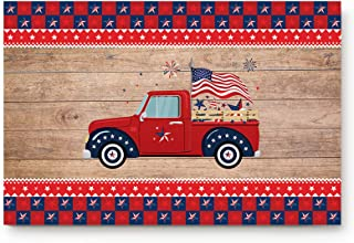 Entrance Front Indoor Doormats Independence Day Red Truck Wooden Board Non-slip Low Profile Rubber Backing Floor Carpet Ru...