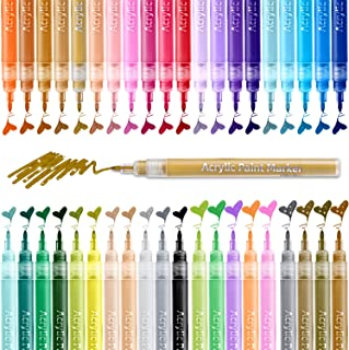 Paint Pens for Rock Painting Art, Ohuhu 40-color Acrylic Markers Pen for DIY Ceramic, Water-Based Acrylic Ink Painting for...