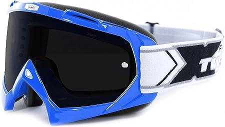 Two X Race Crossbrille Blau Glas Getönt Schwarz Grau Mx Brille Motocross Enduro Motorradbrille Anti Scratch Mx Schutzbrille Auto