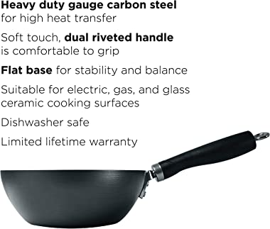 """Ecolution Non-Stick Carbon Steel Wok with Soft Touch Riveted Handle, 8"""",Black"""