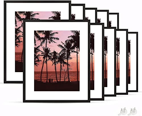 netuera 16x20 Picture Frames 12x16 11x14 with Mat and 16x20 without Mat for Wall Mounting and Table Top Set of 10