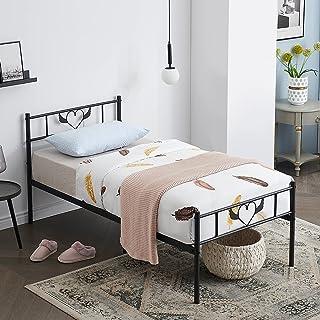 Smylife Cadre de lit Simple en métal lit Simple avec Ange Design avec Solides et Structure Métallique 90x190cm, Noir