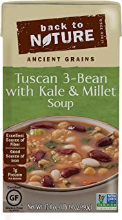 Back to Nature Non-GMO Soup, Gluten Free Tuscan 3 Bean, Kale & Millet, 17.4 Ounce (Pack of 6)