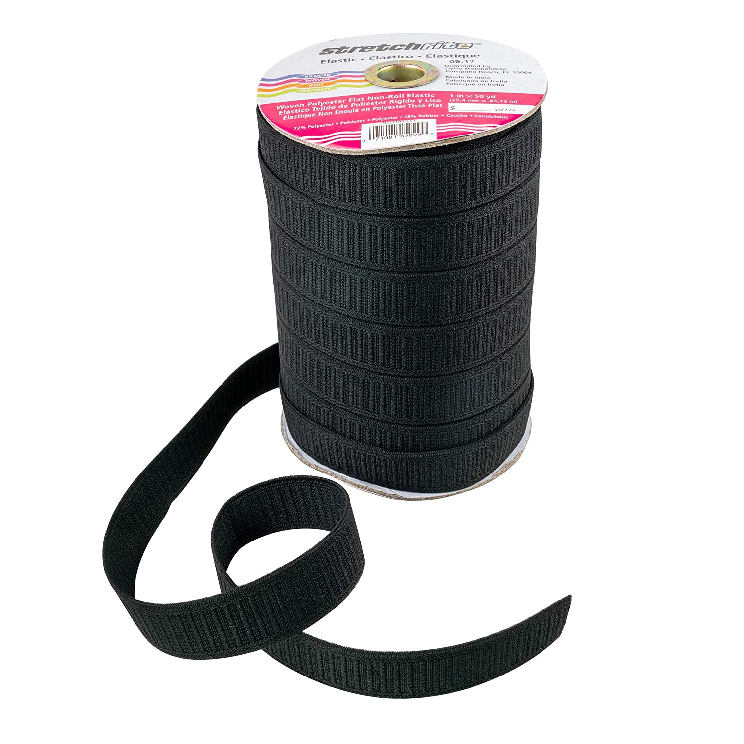 Stretchrite 1NSS1103BLCK Stretchrite 1-Inch by 50-Yard Black Flat Non-Roll Woven Polyester Elastic Spool