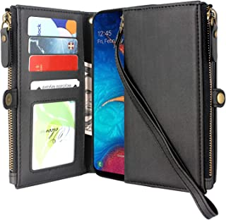 Lacass Premium Leather Flip Zipper Wallet Case Cover Stand Feature with Card Holder and Wrist Strap for Samsung Galaxy A10e Case (NOT FIT A10) (Black)