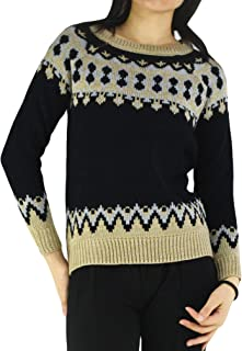 YSJERA Women's Pullover Round Neck Long Sleeve Lovely Snowman Knit Sweater Top - Brown - Small