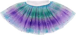 Lullaby 4 Layered Baby Tulle Tutu Skirt Girls Rainbow Sparkle Tutu - Purple - Baby for 6-18 Months