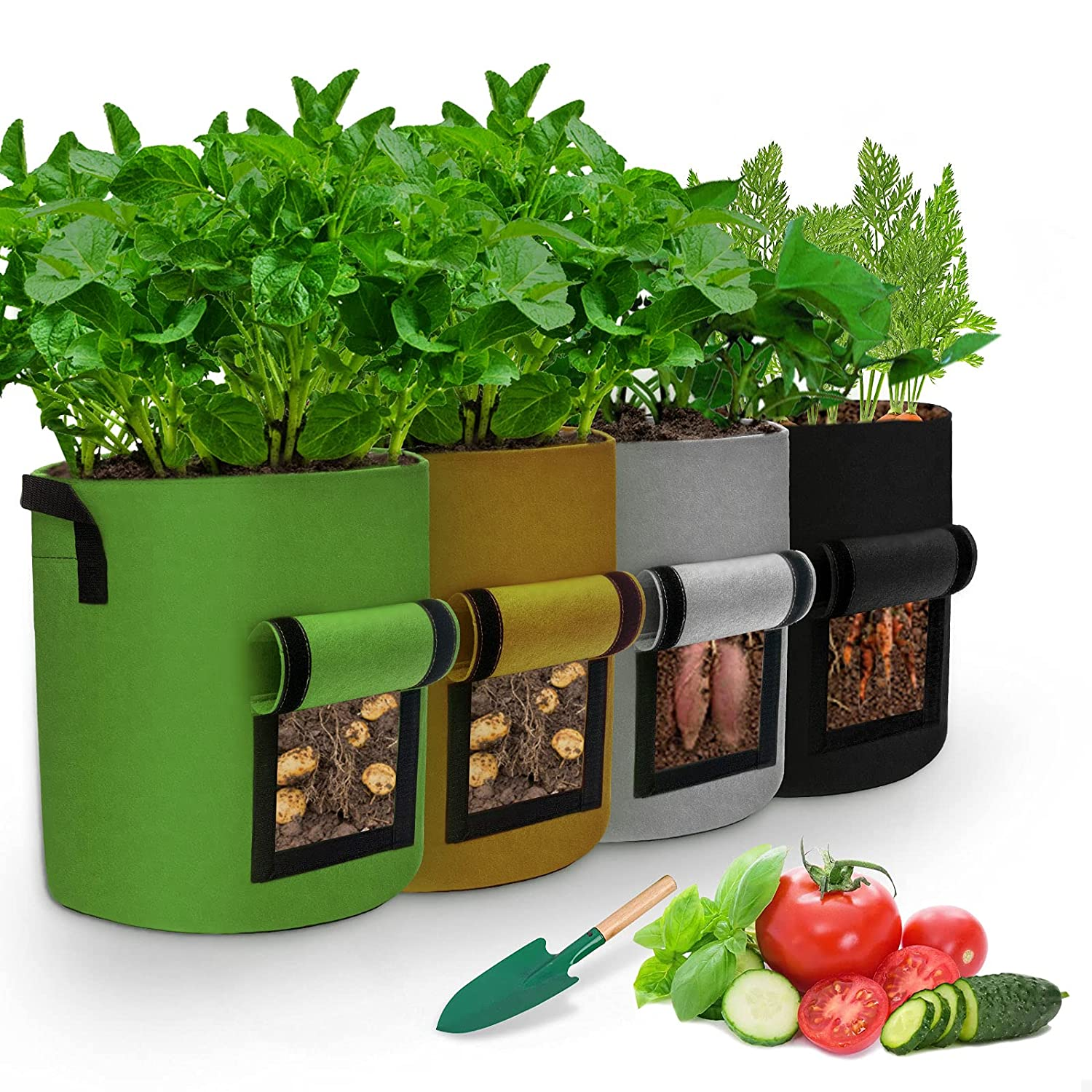 Potato Grow Bags, Heavy Duty Thickened Nonwoven Fabric, Containers Pots