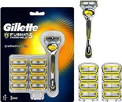 Gillette 81632363 Maszynka do Golenia Dla Mężczyzn z Zestawem Ostrzy ProShield, 9 Sztuk, Srebrny, Żółty
