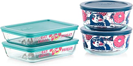 Pyrex Simply Store Decorated Glass Storage Set (8 Piece Set), Pure Magic Sloth Design, 2 x 4 Cup and 2 x 3 Cup containers