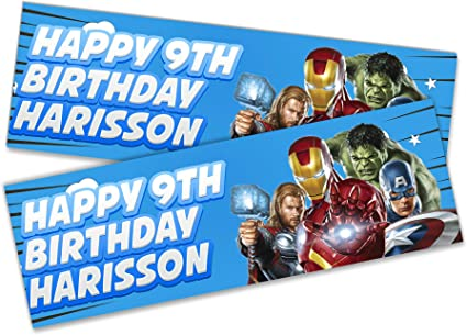 x2 Personalised Birthday Banner Spider man Kid Adult Party Decoration Poster 120