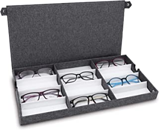 """Ikee Design Eyewears Organizer Box -12 Slots Small or Medium Eyeglasses Box Display Case with Lid for Eyeglasses, Watches and Jewelry, Grey Lienen, 19""""W x 9 3/4""""D x 1 1/2""""H, Regular Full Covered"""