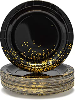 Party Chic Black and Gold Dot Party Pack Disposable 9 inch Gold Foil Dinner Plates Pack of 50 for Party Wedding Elegant Fancy Decorations Holiday Anniversary Birthday Supplies Bachelorette Bachelor