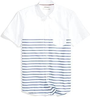 Amazon Brand - Goodthreads Men's Standard-Fit Short-Sleeve Placed-Stripe Pocket Oxford Shirt
