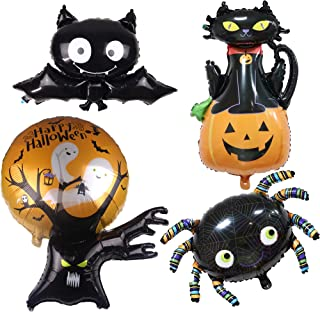 4 Pcs Halloween Themed Foil Mylar Balloons Party Supplies Set Bat Spider Black Cat Pumpkin Ghost Tree Decor