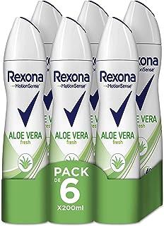 Rexona Aloe Vera Antitranspirante Aerosol para Mujer 0% Alcohol 200 ml - Pack de 6 x 200 ml, Total 1200 ml