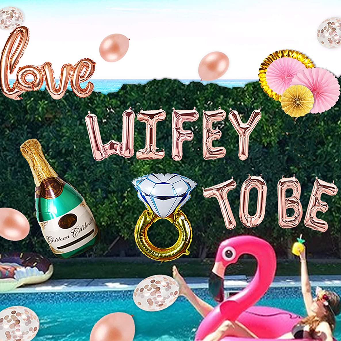 Wifey to BE Bachelorette Party Decorations - Rose Gold Bridal Shower Supplies | Champagne, Ring, Love 40