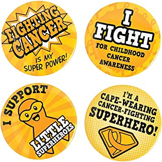 Fun Express - Childhood Cancer Superhero Buttons - Jewelry - Pins - Novelty Buttons - 24 Pieces