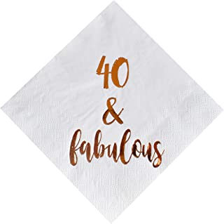 40 and Fabulous Cocktail Napkins, 50-Pack 3ply White Rose Gold 40th Birthday Dinner Celebration Party Decoration Napkin