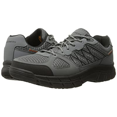 SKECHERS Work Conroe Dierks (Gray Leather/Mesh/Black Trim) Men