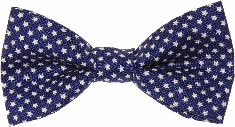 Men's Navy Blue With Mini White Stars Clip On Cotton Bow Tie
