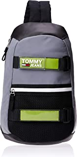 تومي هيلفيغر حقيبة جلد للرجال-رمادي/اخضر عاكس