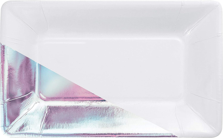 White 40% OFF Las Vegas Mall Cheap Sale Iridescent Foil Rectangular Paper Elise Plates 24 by ct