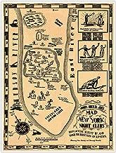 Antiguos Maps Map of New York City Night Clubs Circa 1920 - Measures 24