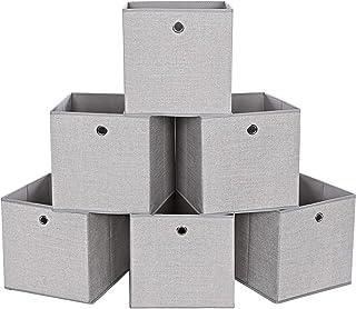 SONGMICS Boîte de Rangement, Lot de 6, Coffre de Rangement, Pliable, en Tissu Non tissé, Bac pour Jouets, vêtements, Gris ...