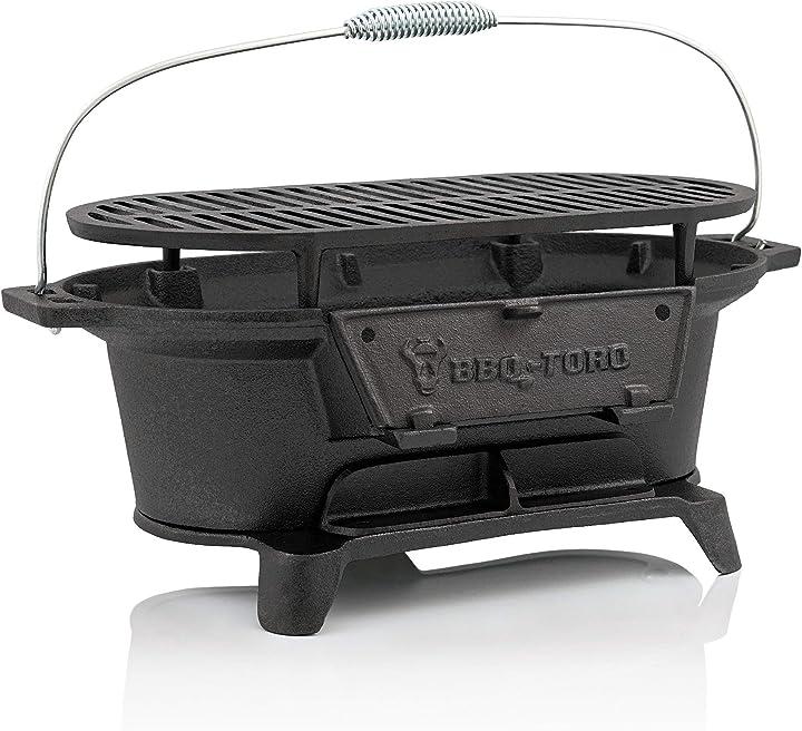Barbecue da campeggio a carbone di legna hibachi style bbq-toro pentola in ghisa con griglia B07L2WQBZB