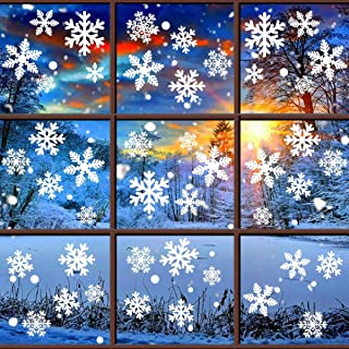QIFU White Snowflakes Window Clings Decal Stickers - Christmas Window Decorations Party Supplies Winter Wonderland Xmas Party Ornaments