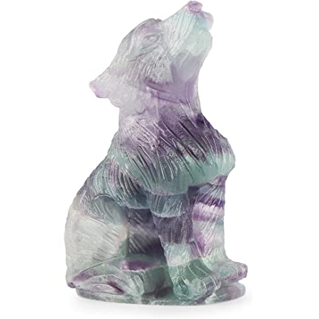 Amethyst Artistone 2.0 Wolf Statue Handmade Wolf Statues and Figurines Pocket Wolf Hand Carved Gemstone Wolf Statues and Sculptures Wolf Cub Decorative Statue Figurine for Home and Office