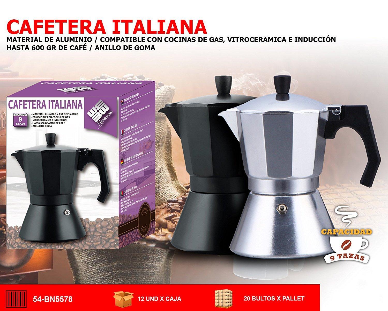 CAFETERA ITALIANA MATERIAL ALMINIO + ASS COMPATIBLE CON COCINA DE ...
