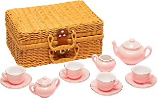 MMP Living Children's 13 Piece Porcelain Play Tea Set with Wicker Style Basket - Pink