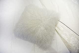 unite down Deluxe Home Decorative Rectangular Soft Plush 100% Real Mongolian (Tibetan) Lamb Wool Pillow/cushion Cover/Case(18x18inch, White)