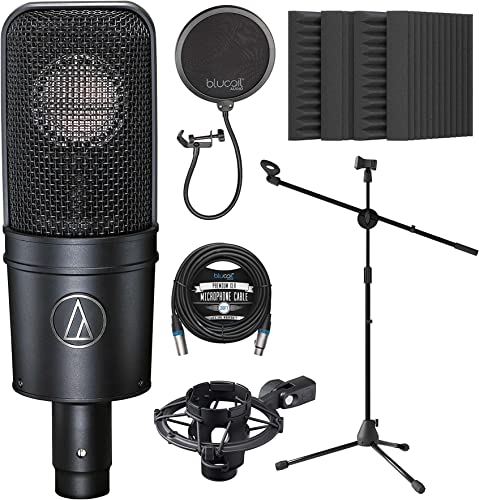 """wholesale Audio-Technica AT4040 sale Cardioid Condenser Microphone Bundle with Blucoil 20-FT Balanced XLR Cable, Pop wholesale Filter, Adjustable Microphone Tripod Stand, and 4-Pack of 12"""" Acoustic Foam Isolation Panel Wedges online sale"""
