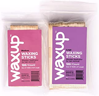waxup Wax Applicator Wooden Sticks, Assorted Waxing Spatulas for Body, Face, Ear, and Nose Hair Removal, to Use with Hard and Soft Wax, 100 Medium and 100 Large, 200 Count