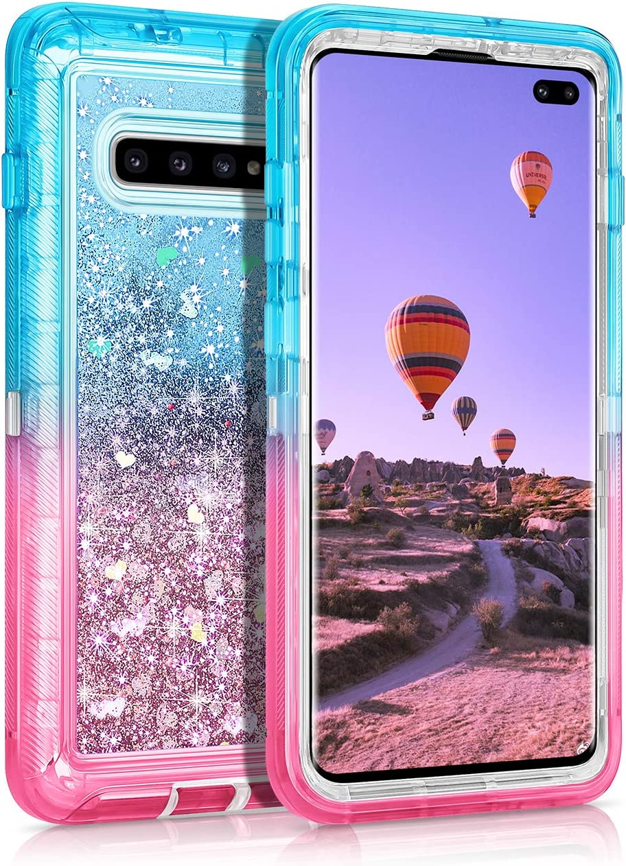 Coolden Case for Galaxy S10 Plus Cases Protective Glitter Case for Women Girls Cute Bling Sparkle Quicksand Heavy Duty Cover Hard Shell Shockproof TPU Case for Samsung Galaxy S10 Plus, Aqua Pink