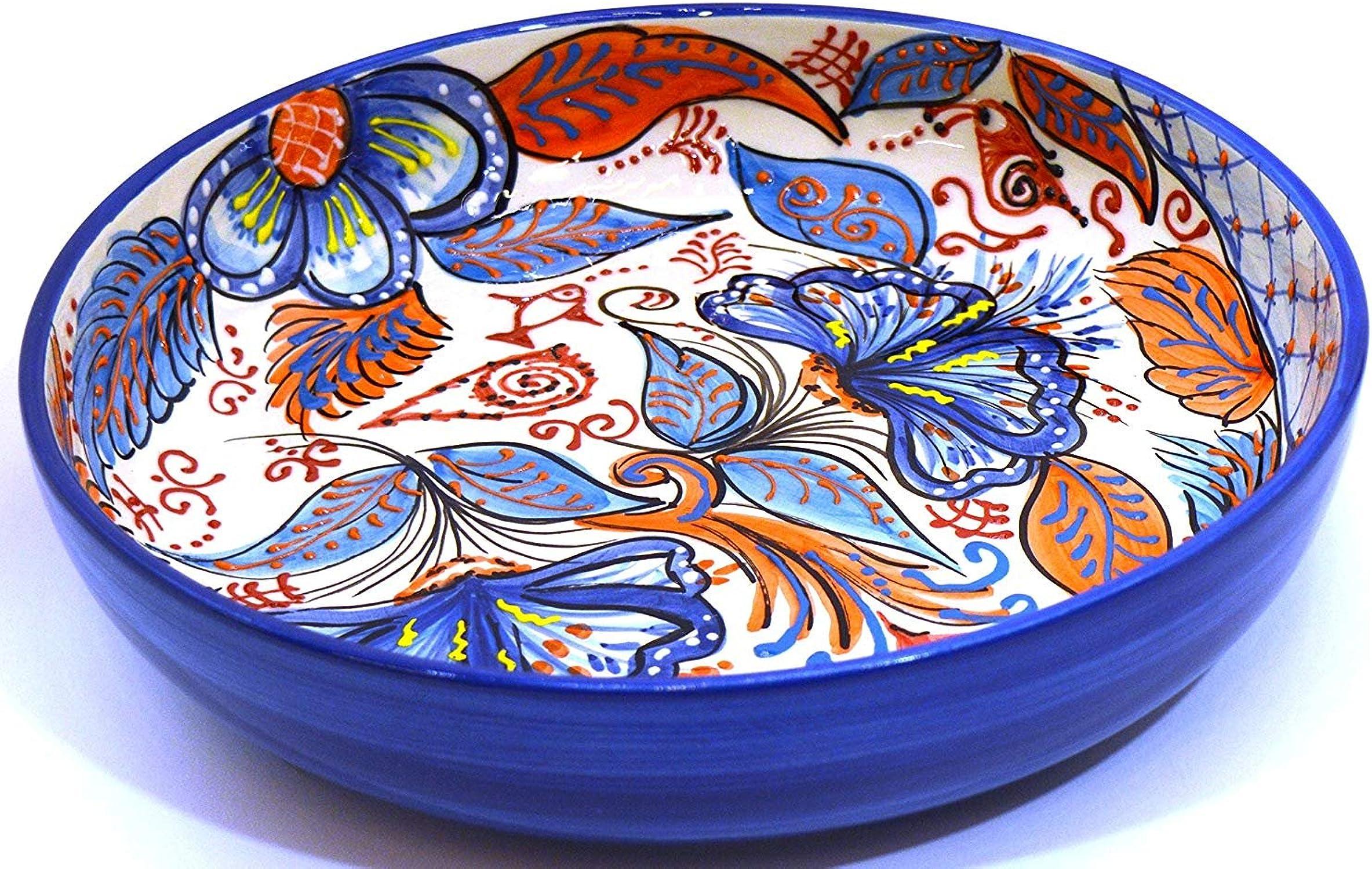 Art Escudellers SALADIER No1 en céramique Fait et Peint à la Main avec décoration Fleur. 29 cm x 29 cm x 6 cm (Fleur Marine Bleue)