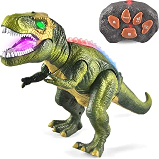 JOYIN LED Light Up Remote Control Dinosaur Walking and Roaring Realistic T-Rex Dinosaur Toys with Glowing Eyes, Walking Movement, Shaking Head For Toddlers Boys Girls