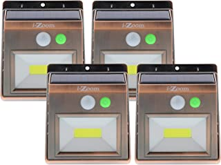 i-Zoom Solar Powered Lights - COB LED Light Night Beam with 250 Lumens – Wireless Waterproof Security, Motion and Light Sensor Activated, Auto ON, OFF – Great for Home or Business – Copper (4 Pack)
