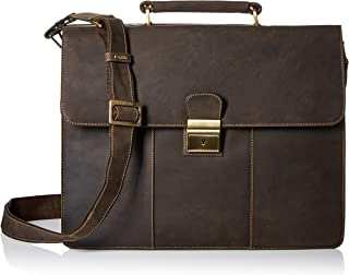 Visconti Apollo Oil Tanned Leather Briefcase with Strap and Lock, Brown