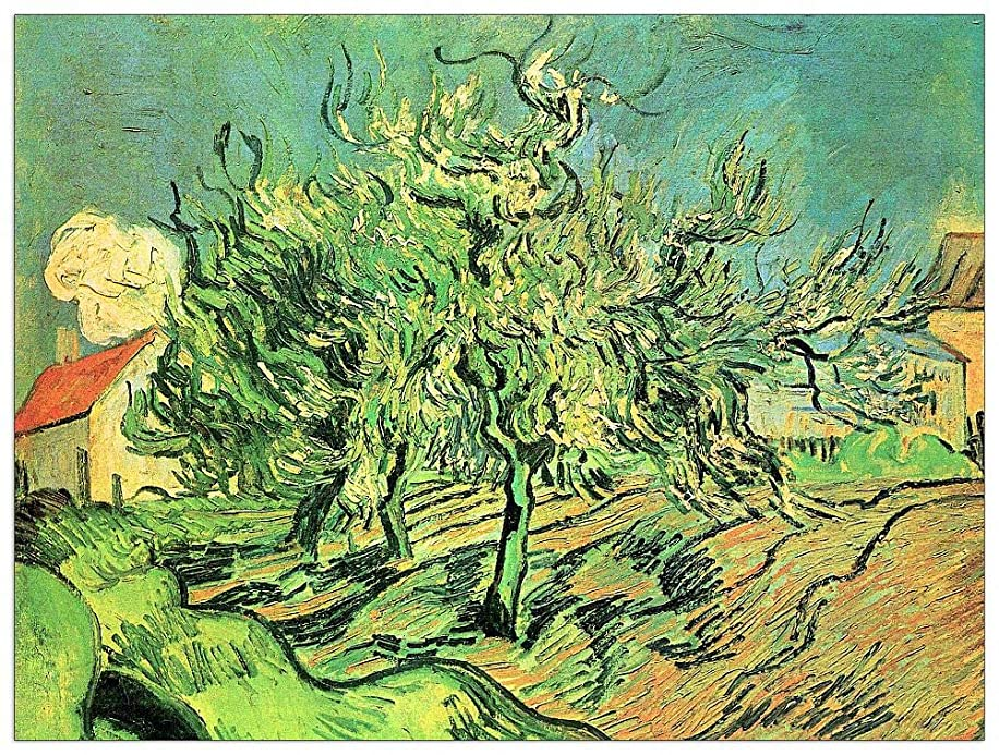 ArtPlaza TW91128 Van Gogh Vincent - Landscape with Three Trees and Houses Decorative Panel 35.5x27.5 Inch Multicolored