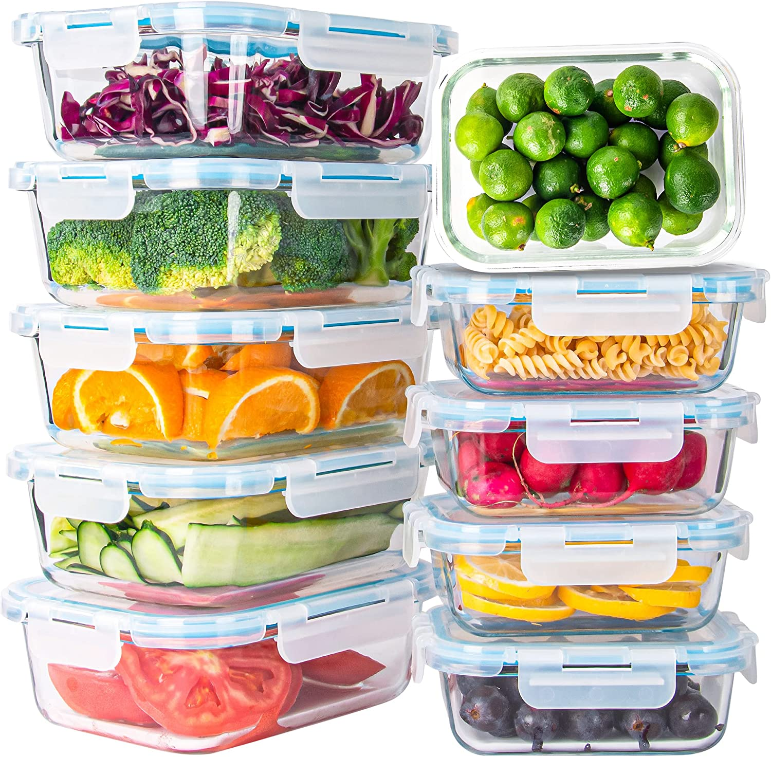 10 Pack Glass Food Storage Airti Omaha Mall Max 87% OFF Containers with Lids Leakproof